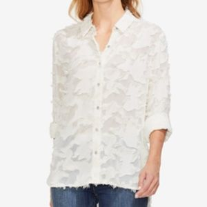 Vince Camuto Top Blouse Ivory Frayed Camo Sz M